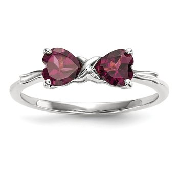 14k White Gold Polished Rhodolite Bow Ring