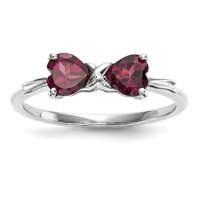 Quality Gold 14k White Gold Polished Rhodolite Bow Ring