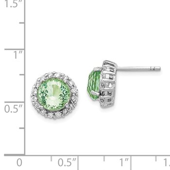 Cheryl M SS Rhod Plated CZ & Simulated Paraiba Tourmaline Post Earrings