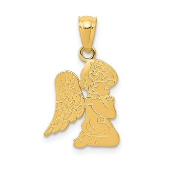 14k Polished Praying Angel Girl Pendant