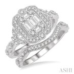 ASHI fusion diamond wedding set