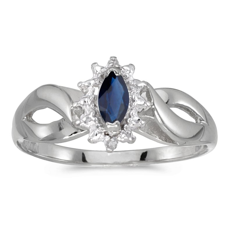 Color Merchants 14k White Gold Marquise Sapphire And Diamond Ring