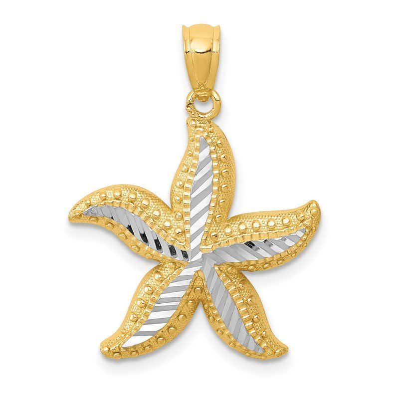 Quality Gold 14k with White Rhodium Diamond-cut Starfish Pendant