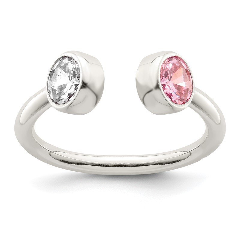Quality Gold Sterling Silver Polished Pink and White CZ Adjustable Ring