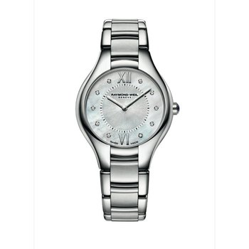 Ladies Quartz Watch, 32 mm Steel on steel 10 diamonds