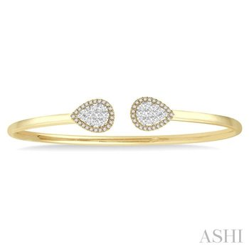 pear shape lovebright essential cuff open diamond bangle