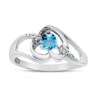 10k White Gold Round Blue Topaz And Diamond Heart Ring