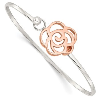 Sterling Silver Rose-tone Polished Flower Bangle