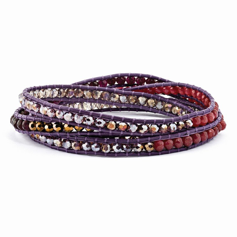Quality Gold Multi Crystal and Multi Quartz Leather Multi-wrap Bracelet
