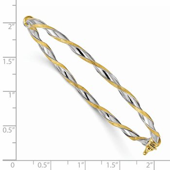 Sterling Silver Gold-tone Satin/Polish Twisted 3mm Hinged Bangle