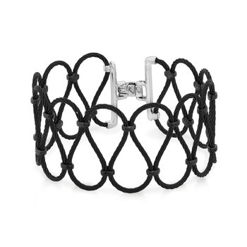 Black Cable Ribbon Bracelet with 18kt White Gold