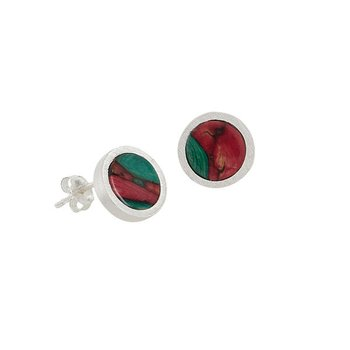 CircleSterling Silver Stud Earrings in Satin Finish