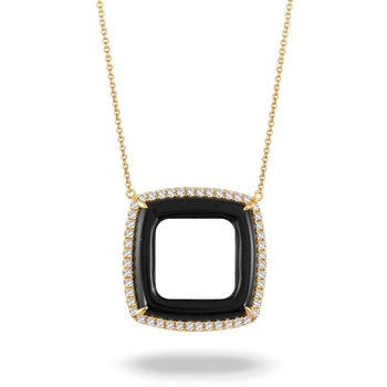 Gatsby Open Square Onyx Necklace