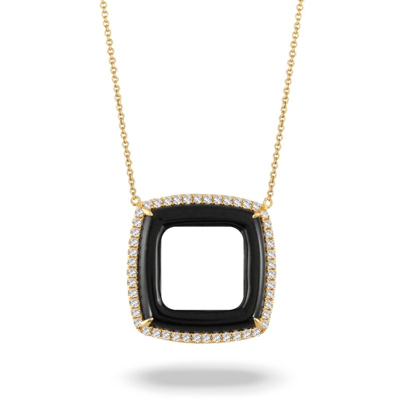 MAZZARESE Couture Gatsby Open Square Onyx Necklace