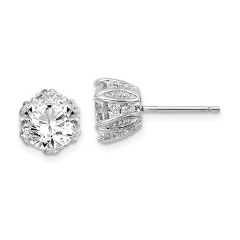 Sterling Silver Rhodium-plated CZ Stud Earrings