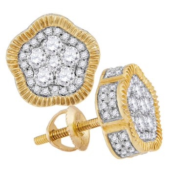 10kt Yellow Gold Mens Round Diamond Fluted Star Cluster Stud Earrings 1.00 Cttw