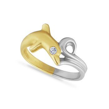 14k white & yellow gold dolphin ring with 0.03ct diamond in eye