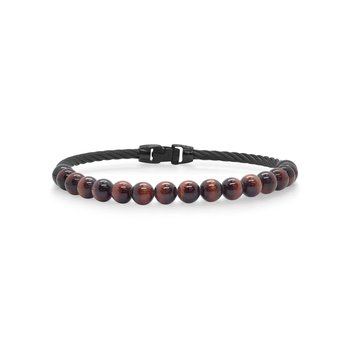 Single Row Black Cable & Tiger Eye Bracelet