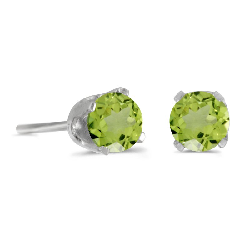 Color Merchants 14k White Gold 4 mm Round Peridot Stud Earrings