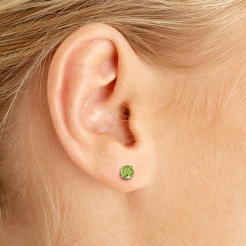 14k White Gold 4 mm Round Peridot Stud Earrings