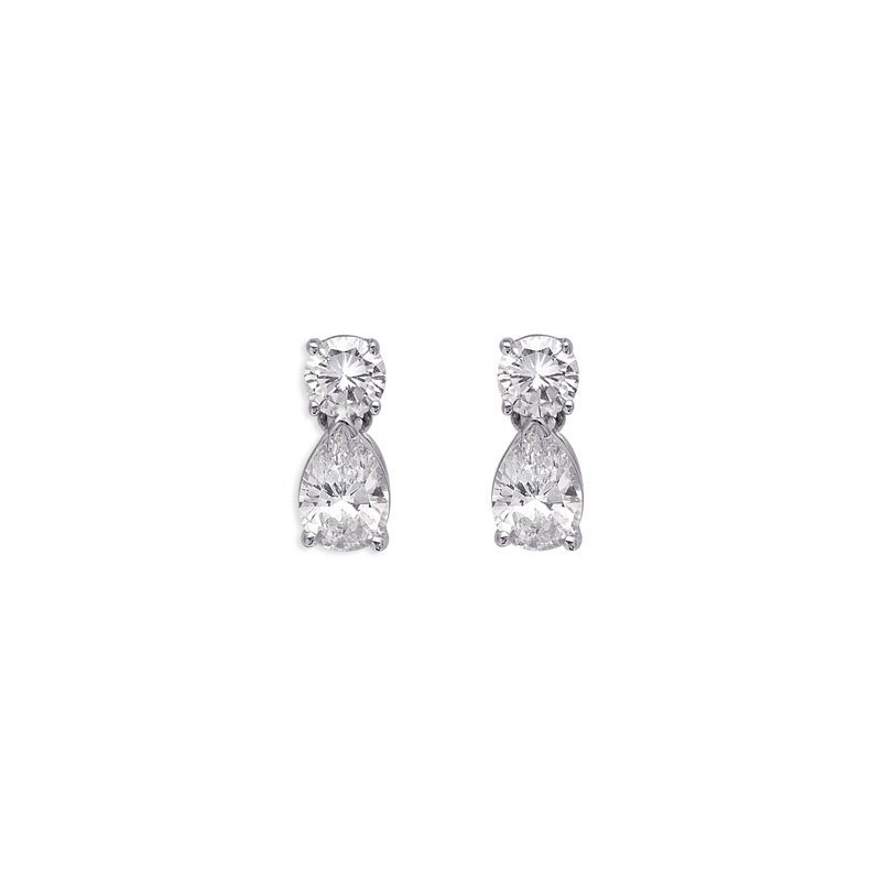 S. Kashi  & Sons Round& Pear Shape Drop Earring