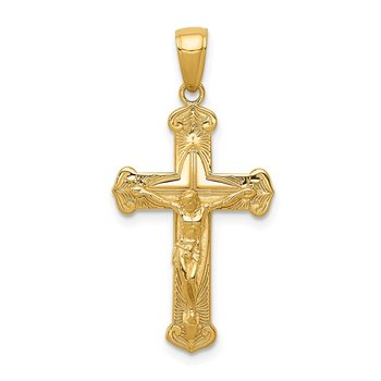 14K Gold Polished Textured Crucifix Pendant