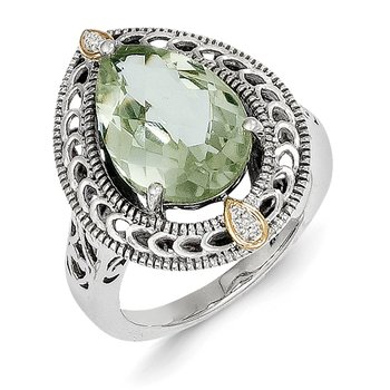 Sterling Silver w/14k Diamond & Green Quartz Ring