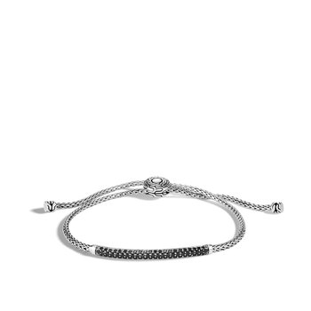 Classic Chain Station Pull Through Bracelet , Silver, Gemstone