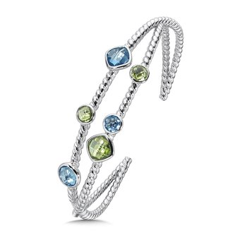 Sterling Silver Blue Topaz and Peridot Cuff