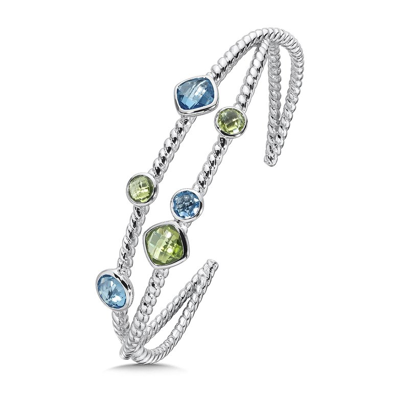 Colore Sg Sterling Silver Blue Topaz and Peridot Cuff