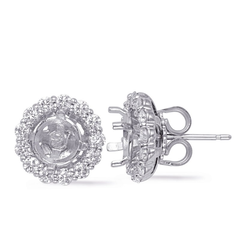 S. Kashi  & Sons White Gold Jackets Earring 1ct each