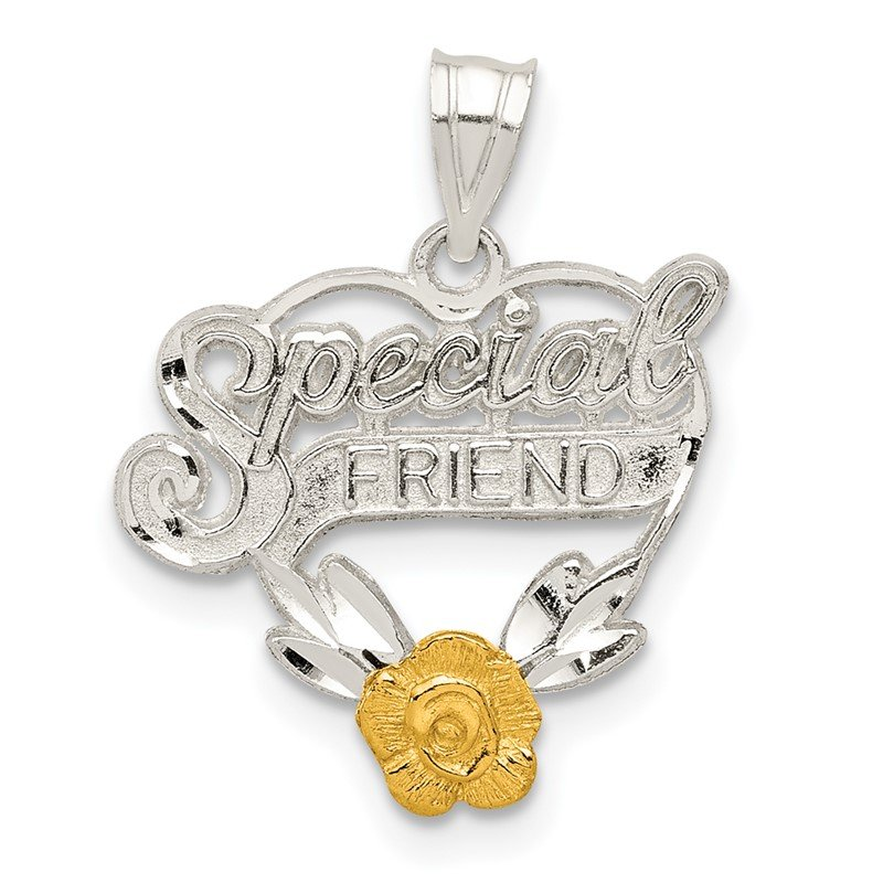 Quality Gold Sterling Silver Special Friend Heart Charm