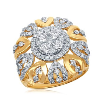 14kt Yellow Gold Womens Round Diamond Cocktail Cluster Ring 1-7/8 Cttw