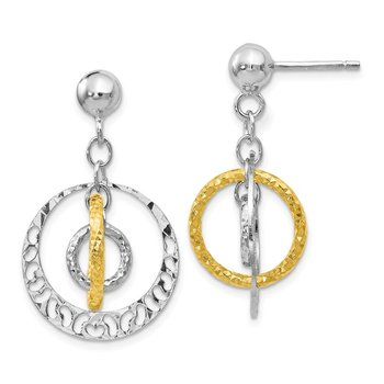 Leslie's Sterling Silver Gold-tone Flash-plated Post Dangle Earrings