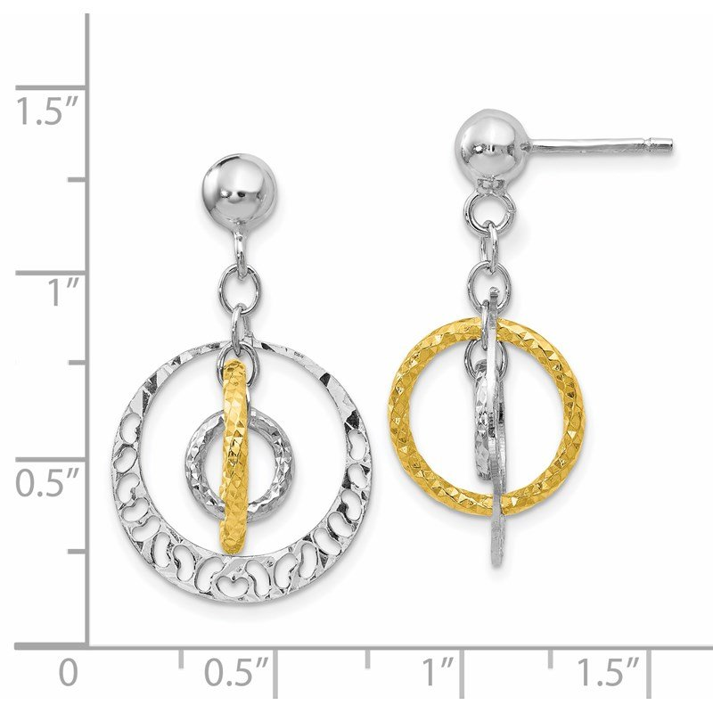 Leslie's Leslie's Sterling Silver Gold-tone Flash-plated Post Dangle Earrings