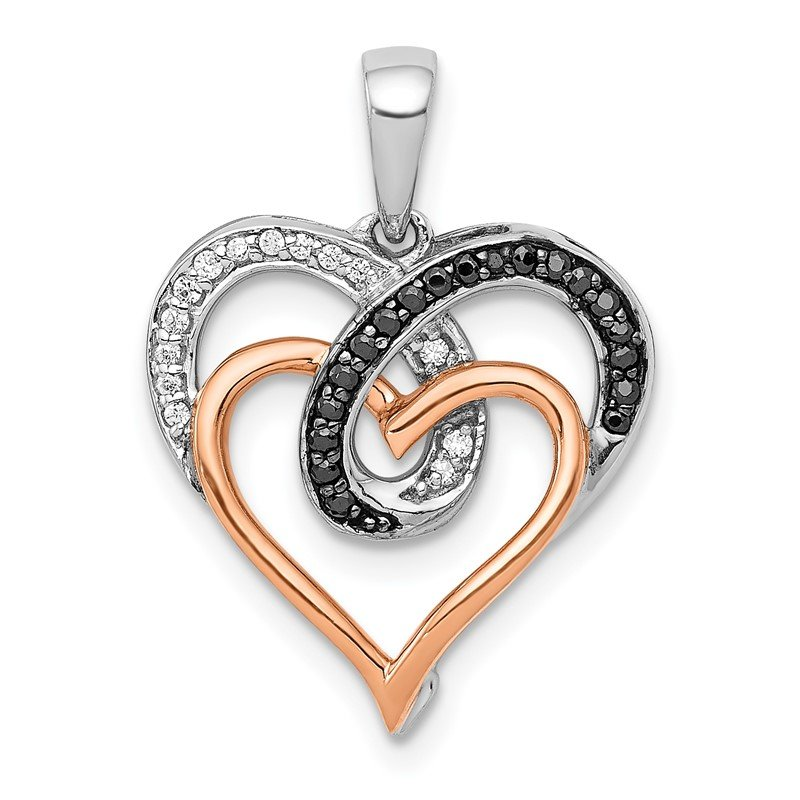 Quality Gold 14k White and Rose Gold White and Black Diamond Hearts Pendant