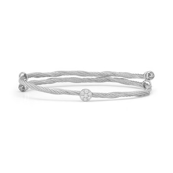 Grey Cable Flex Size Bracelet with Round Diamond Station set in 18kt White Gold