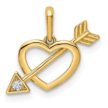 14K CZ Heart with Arrow Pendant