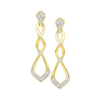 10kt Yellow Gold Womens Round Diamond Cascading Teardrop Dangle Earrings 1/10 Cttw