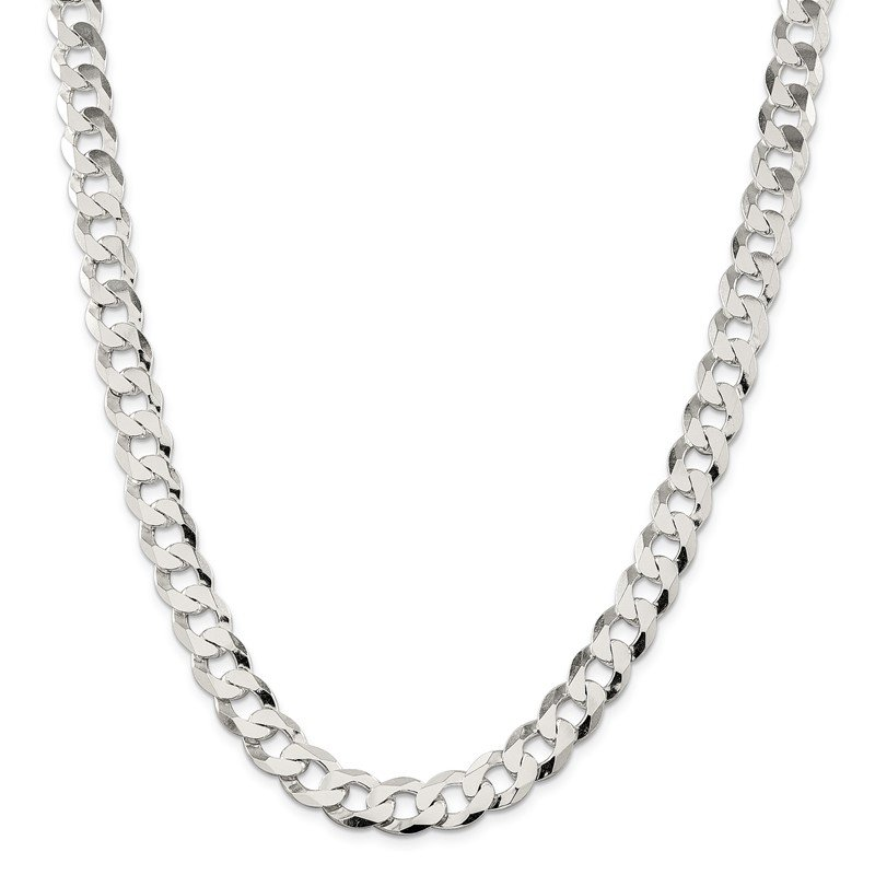 Sterling Silver 11.75mm Flat Curb Chain