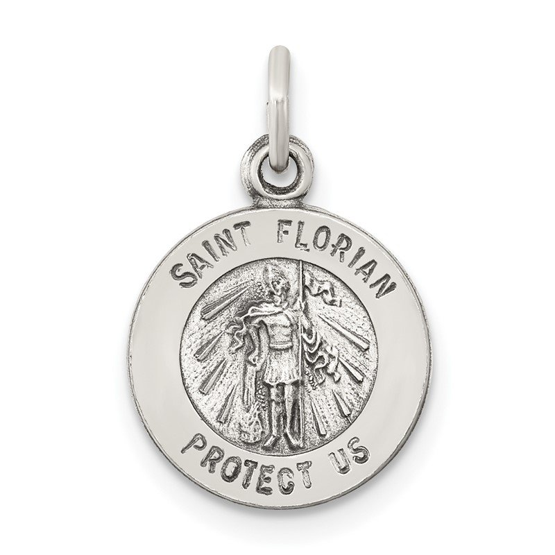 Quality Gold Sterling Silver Antiqued Saint Florian Medal