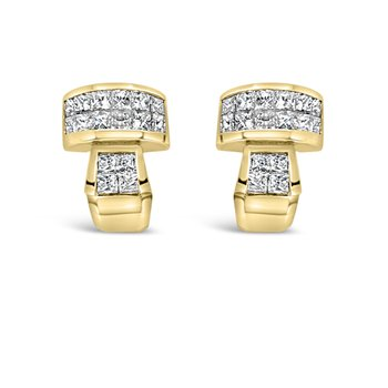 18K Invisible Set Princess Diamond Earrings Retro