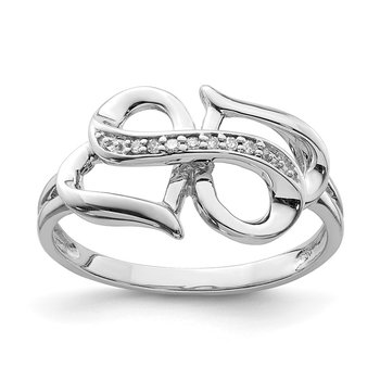 Sterling Silver Rhodium Diam. Infinity Symbol Heart Ring