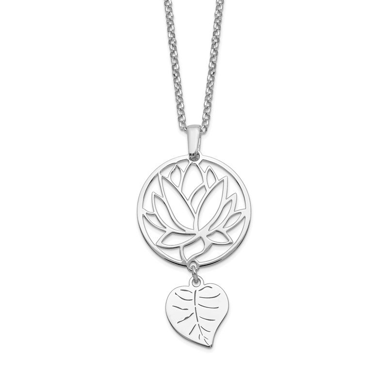 Quality Gold Sterling Silver Rhodium-plated Flower & Leaf Dangle w/2in ext. Necklace