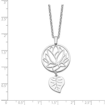 Sterling Silver Rhodium-plated Flower & Leaf Dangle w/2in ext. Necklace
