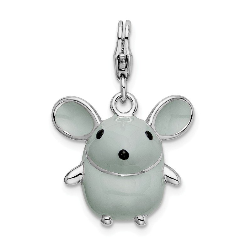 Quality Gold Sterling Silver 3-D Enameled Grey Mouse w/Lobster Clasp Charm