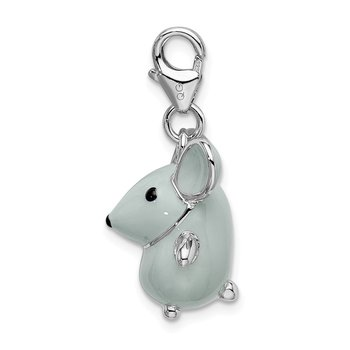 Sterling Silver 3-D Enameled Grey Mouse w/Lobster Clasp Charm