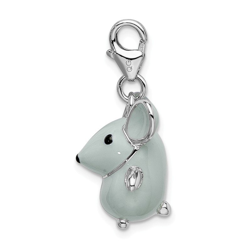 Quality Gold Sterling Silver Amore La Vita Rhodium-pl 3-D Enameled Grey Mouse Charm