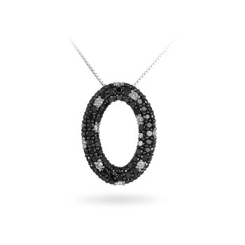 14K WG Black and White Diamond Pendant