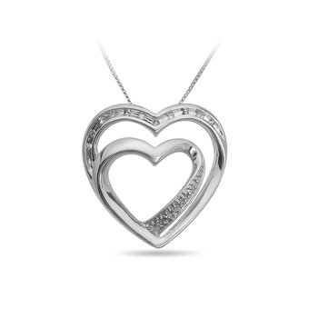925 SS and Diamond Double Heart Shape Pendant